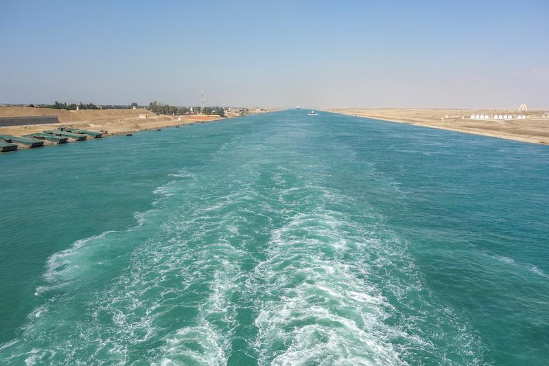 Suezkanal Golf von Aden Aegypten Kreuzfahrtschiff Tranzsuez