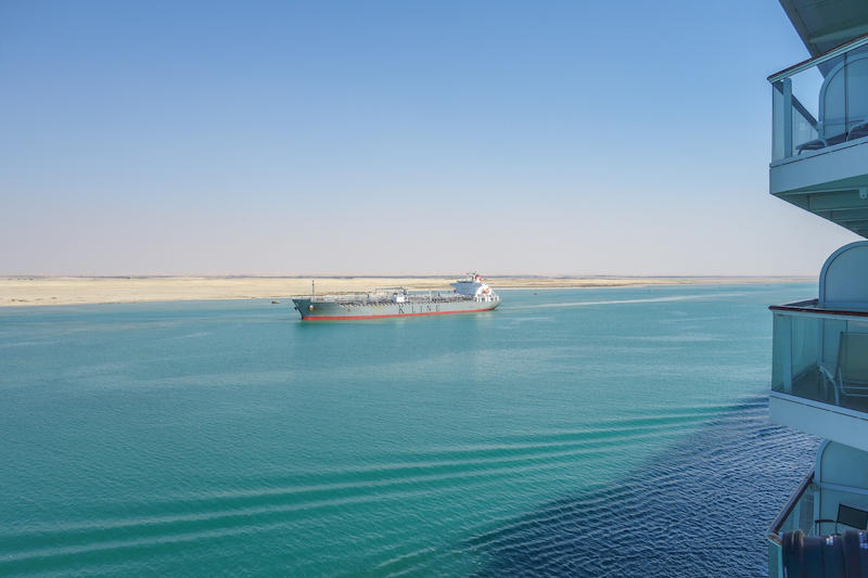 Suezkanal Kreuzfahrtschiff Passage Aegypten