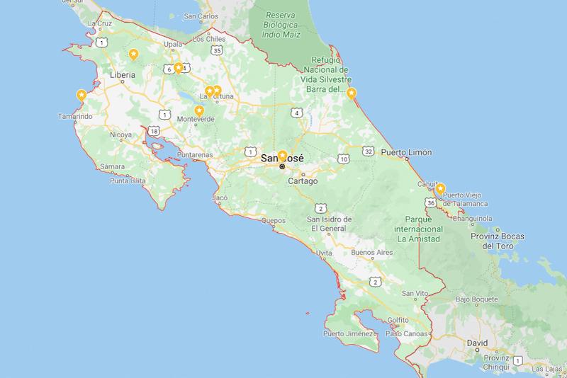 Costa Rica Rundreise Route