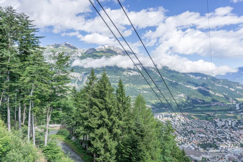 Graubuenden Schweiz Chur Brambueesch Bergbahn