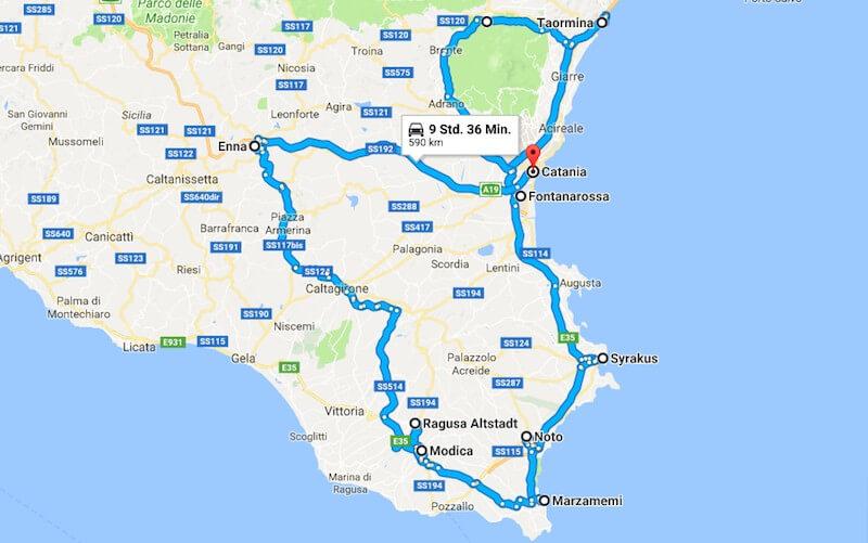Sizilien Rundreise Google Maps Screenshot