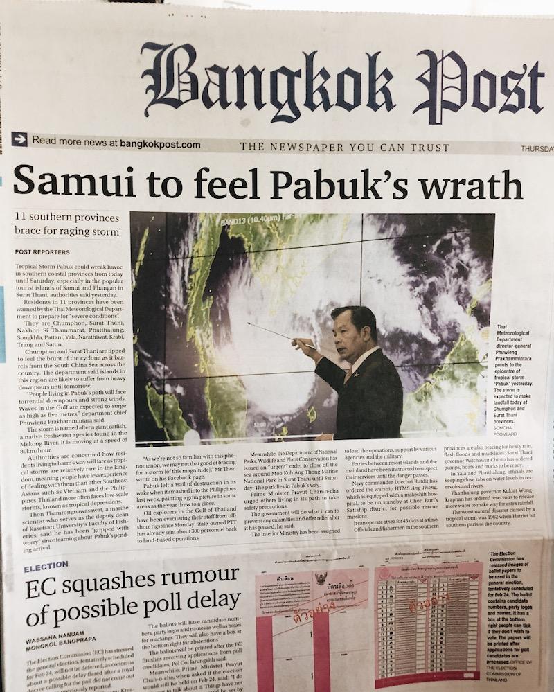 Tropensturm Pabuk Thailand