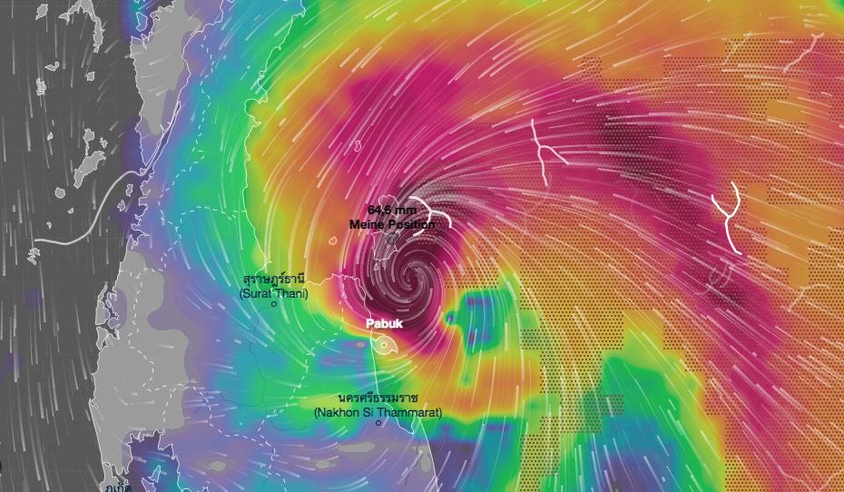 Tropensturm Pabuk wütet in Thailand und wir sitzen auf Koh Samui fest