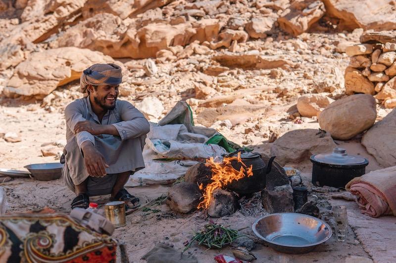 Wüstenreise Beduinen Feuer