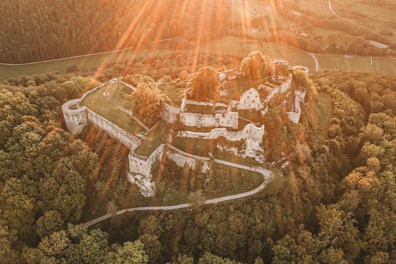 Sonnenuntergang Burg Hohenurach