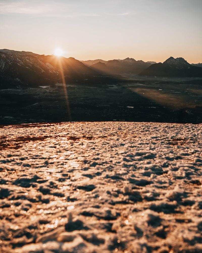 Salzburg im Winter Sonnenuntergang Gaisberg