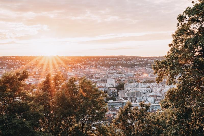 Teehaus Stuttgart Sonnenuntergang